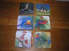 Estate Lot of 6 Birds of Australia Colorful Rounded Square Cork Backed Coasters