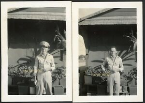 HANDSOME MILITARY MAN with PANTS BULGE VINTAGE PHOTO LOT of 2 GAY INT