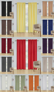 2 PANELS SOLID BLACKOUT THERMAL ROD POCKET FOAM LINED WINDOW CURTAIN DRAPE R64