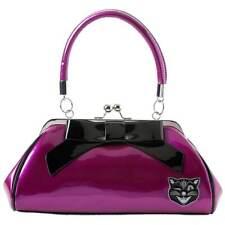 Sourpuss Jinx Cat Floozy Handbag Purple/Blk Retro Rockabilly Punk Pin Up Vintage