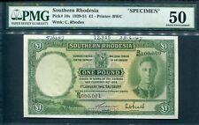 Southern Rhodesia 1939-51(1948), 1 Pound, Specimen, P10s, PMG 50 AUNC