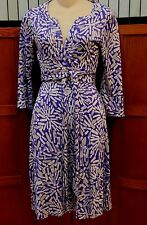 Diane von Furstenberg DVF Purple White Print Silk Wrap Dress S XS 2 4