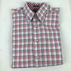 Tommy Hilfiger Mens Button Down Shirt 80s 2Ply Red White Blue Check Size Large