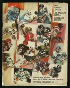 1968 BERT BELL PRO PLAYOFF PROGRAM CLASSIC LOS ANGELES RAMS vs. CLEVELAND BROWNS