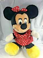 "Vintage Disney Authentic 11"" Minnie Mouse Plush Stuffed Toy Hard Eyes RARE EUC"