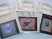 lot of 3 Lavender Lace Cross Stitch Pattern Earth Angel~Angel of Light & Spring