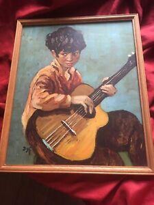 Guitar Boy Marcel DYF 1960s Original Mid Century Framed Print under Glass