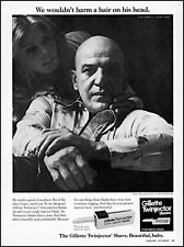 1975 Telly Savalas woman Gillette injector blades vintage photo print ad ads72