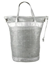 $1200 Jimmy Choo LEATHER Silver Metallic Paillettes bag! Brand new!