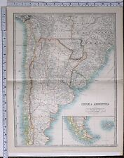 1915 grande Carte du Chili et Argentine Brésil Paraguay Bolivie Chili îles Falkland