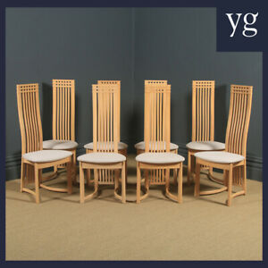Contemporary Vintage Danish Set of 8 Eight Beech Actona Kitchen Dining Chairs