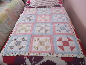 """Handmade Lap or Baby Patchwork Quilt New 34"""" x 44"""" Shoo Fly Pattern"""