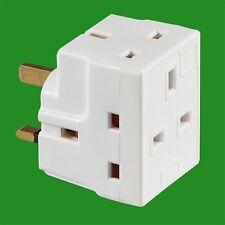 13 Amp Fused Uk Mains 3 Pin Electric Plug Socket 3 Way Spliter Adaptor Converter