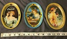 "lot of 3  Vintage 1973 Oval Coca Cola Lady Tin Tip Tray 1914 Small 6.2"" x 4.4"""