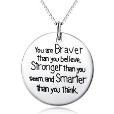 You're Braver Than You Believe Coin Message Pendant Necklace 925 Sterling Silver