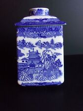 Vintage English RINGTONS Tea Caddy Biscuit Canister Blue Willow