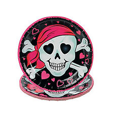 PINK PIRATE PARTY ~ Girl Pirate Dessert / Cake Plates - pack of 8