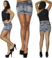 Minigonna donna jeans Denim risvolto strass skinny gonna grigia elasticizzata
