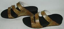 Fitflop Womens Super Jelly Twist Leopard Print A90-363 Slide Sandals Size 10