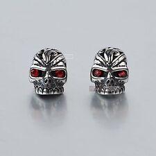 silver stud stainless steel red crystal vintage style skull earrings