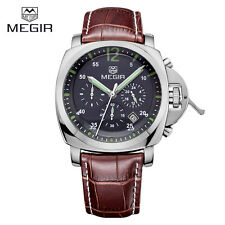 MEGIR 3006 Brand  Military Sports Chronograph Watch with Leather Strap For Men