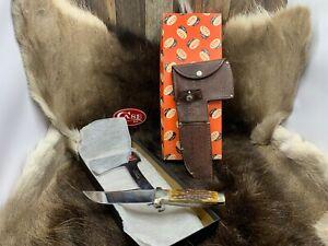 Case's Tested XX USA Axe & Knife Combo Set Green Bone &  Sheath Mint Pumpkin Box
