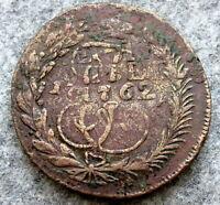 RUSSIA EKATERINA II MM 5 KOPEKS OVERSTRIKE PETER III 1762 10 KOPEKS LARGE COPPER
