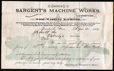 Graniteville MA 1882 Wool Washing  Sargents Machine Works Vintage Letter Head