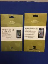 Power Support iPhone 3G 3GS and iPhone 4 Anti-Glare Film Set Screen Protectors