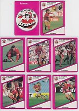 8 x Scanlens 1988 NRL Trading Cards Illawarra Steelers Cards 89-96