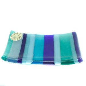 Murano Glass Ring Tray Rectangular Light Blue Green Striped 11cm x 7cm