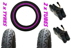 """2 x Mamas & Papas 03 Sport 12 1/2"""" x 2 1/4 + Bent tubes & Pram Tyres PINK LINE"""