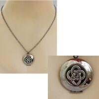 Celtic Knot Necklace Locket Pendant Handmade Pill Box Stash New Gunmetal Black