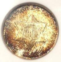 1853 Three Cent Silver Piece 3CS - Certified ANACS MS60 Detail (UNC) - Rare Coin