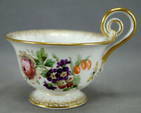 19th Century KPM Berlin Hand Painted Dresden Floral Butterfly & Gold Tea Cup