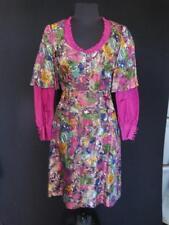 Rare Custom Made 1980'S Fushia Silk Taffeta And Metallic Brocade Dress Size 6