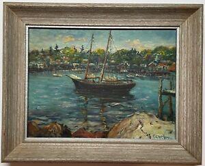 Vintage PARKER GAMAGE 'Old Schooner in Boothbay Harbor MAINE' Boat Oil PAINTING
