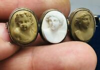 ANTIQUE GEORGIAN CARVED LAVA CAMEO BROOCH RARE COLLECTABLE R. GOLD FRAME 1820