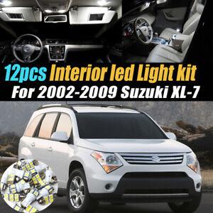 12Pc Super White Car Interior LED Light Bulb Kit for 2002-2009 Suzuki XL-7