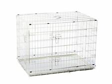 "24"" S White Folding Double Door Steel Metal Wire Dog Crate"
