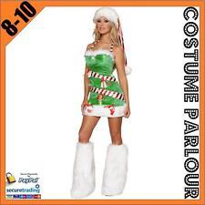 Womens Ladies Christmas Tree Xmas Fancy Dress Santa Costume Size 8 - 10