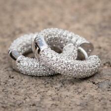 Iced Cz Mens Round Huggie Hoop Earrings 14K White Gold 925 Sterling Silver Fully