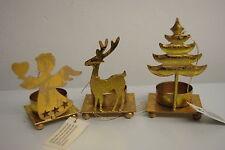Teelichthalter Engel Rentier Tannenbaum Kerzenhalter Metall Gold Weihnacht Neu 3