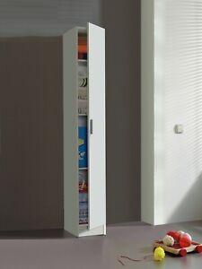 VITA Tall 1 Door + 4 Internal Shelf Utility Room White Storage Cupboard Modular