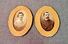 2 ANTIQUE VICTORIAN FRENCH WOMAN & MAN CABINET PHOTOS WITH PASSE PARTOUT