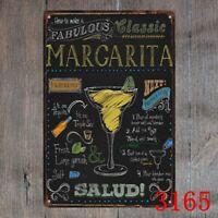 Metal Tin Sign classic margarita Decor Bar Pub Home Vintage Retro