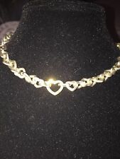 TIFFANY & CO. STERLING SILVER & 18K HEART LINK NECKLACE 16 In VALENTINE's Gift