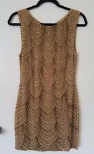 Alice and Olivia Brittany Gold Sequin Beaded Dress XS 0