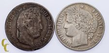 Lot of 2 French Coins 1882-A 50 Centime VF and 1840-A 1/2 Franc VF+