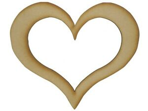 MDF Wooden Shapes Hearts 15cm 150mm High 3mm Thick Custom Cut x 10 pieces 073